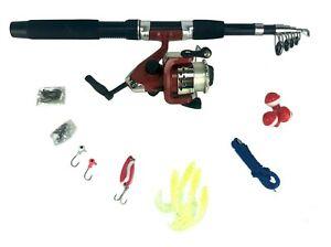 33 piece Set Fishing Kit Telescoping Rod Spinning Reel Hooks Sinkers Lure Bobber