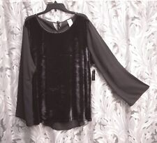 GRAY CREPE CHIFFON VELOUR BELL SLEEVE HI/LO BOHO TOP BLOUSE SHIRT~XXL~20~NEW