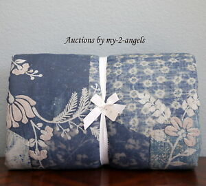 NEW Pottery Barn SAGE EMBROIDERED Full/Queen F/Q Quilt BLUE *geometric shibori