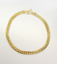 CLASSIC Designer Double Strands 18kt Gold Plated Box Chain Toggle Clasp Necklace