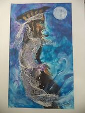 Cuban Artist Charo SIGNED ORIGINAL PAINTING FIRE BREATHING PIRATE FULL MOON A1