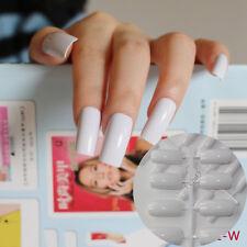 Ultra Long Acrylic Nail Tips White Flat Fake Nails Full Wrap French Nails Kit WL