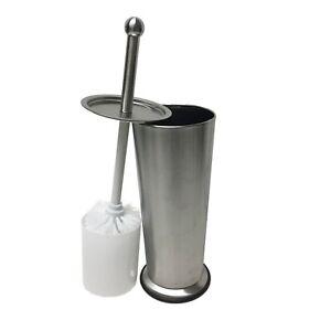 Linen Store Stainless Steel Toilet Brush & Holder With Plastic Bottom - Chrome