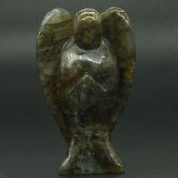 "3"" Labradorite Stone Carved Angel Statue Crystal Healing Figurine Home Decor"