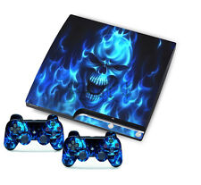 for PlayStation 3 Slim PS3 Console + Controller Skins Blue Fire Skull Sticker