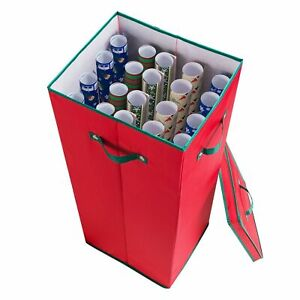 Wrapping Paper Storage Box with Lid Holds 20 Rolls 30 Inches Tall Organizer