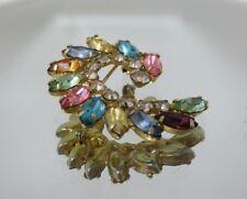 B. David Multi-Color Rhinestone Swirl Brooch Pin