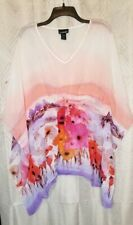Lane Bryant Watercolor Sheer Batwing Tunic Blouse 18 20
