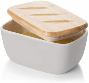 DOWAN Porcelain Ceramic Butter Dish Covered Container Wooden Lid