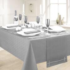 LINEN LOOK GREY TABLE CLOTHS ELEGANT PLAIN SLUBBED PARTY CHRISTMAS SILVER