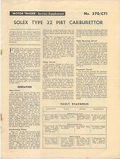 Solex type 32 PIBT carburateur motor trader service supplément no 370/C71 1961