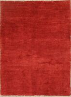 Thick Pile Solid Red Modern 3x5 Gabbeh Hand-Knotted Oriental Area Rug 3'x5'