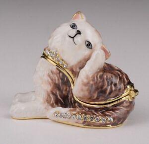 Cat trinket box hand made by Keren Kopal & Austrian crystals Faberge