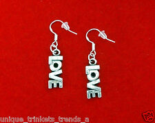 SILVER LOVE WORD I LOVE YOU CHARM DANGLE EARRINGS~VALENTINES DAY GIFT FOR HER