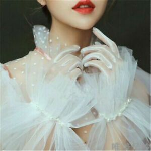 Pearls Tulle Full Fingers Wedding Party Bridal Black/White/Champagne Gloves