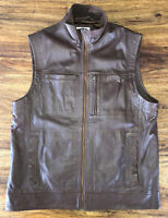 Mens Orvis Leather Zip Vest Size Large Soft Brown Leather