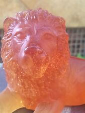 DAUM FRANCE Crystal Pate de Verre Golden Amber Resting Lion Perfection