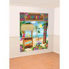Hawaiian Luau Tiki Bar Beach Scene Setter Wall Decorating Kit Backdrop Party