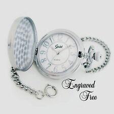 Personalized Pocket Watch Silver Speidel Warranty Fathers Day, Best Man Gift
