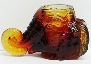 Vintage Degenhart Amber Art Glass Elephant Head Toothpick Holder Trunk Up