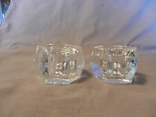 "Pair of  Clear Glass Hexagon Shaped Candlesticks 1.5"" Tall"