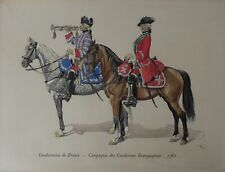 Military Costumes Gendarmerie de France 1776, Print Heightened w/ Gouache