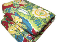 Pottery Barn Red Multi Colors Cotton Floral Cazenovia Full Queen Duvet Cover New