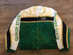 Vintage Ultra Rare Quaker State size Medium Zip Up Nylon jacket made in USA