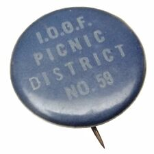 International Order of Odd Fellows Picnic District No 59 Pin Back Button B312