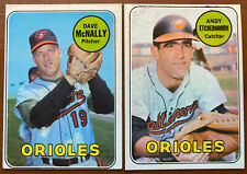 1969 Topps Lot Of 2 Orioles #340 Dave McNally #634 ANDY ETCHEBARREN VG/EX