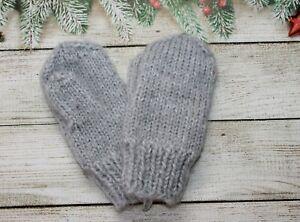NEW Kids baby winter warm mittens handknitted angora mink down  1-2 years unisex