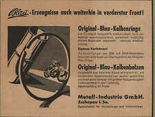 Werbung: ZSCHOPAU, um 1933, Metall-Industrie GmbH Original Blau Kolbenringe