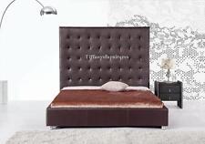 #4007 Gorgeous Modern Queen Size Dark Brown PU Leather bed