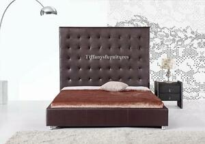 #4007 Gorgeous Modern Cal/Eastern Size Dark Brown PU Leather bed