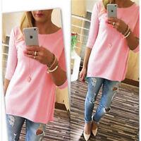Women Long 3/4 Sleeve Tunic Top Solid Shirt Blouse Mini Dress S M L XL Plus Size