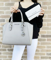 Michael Kors Ciara Large Top Zip Satchel Pearl Grey + White MK Trifold Wallet
