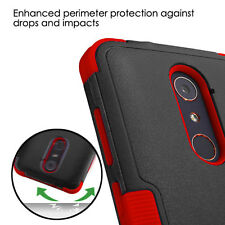 NEW FOR ZTE Blade X Max Z983 - BLACK RED Hybrid Impact Case Cover + GL