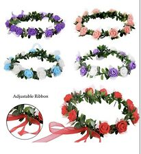 5 Pc Adjustable Women Girls Floral Flower Headband Crown Dress Up, Festival, Etc