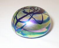 LARGE vintage hand blown aurene iridescent studio art glass G. Levy paperweight