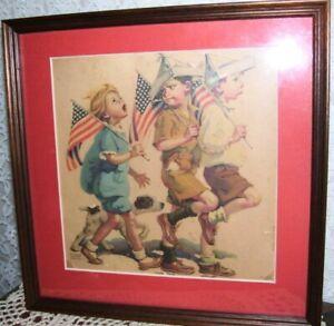 Framed Patriotic Boy Scout Print Yankee Doodle by Frances Tipton Hunter