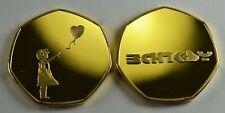 BANKSY 24ct Gold Commemorative Coin 50p Collectors. Balloon Girl, Street Art