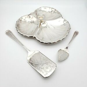 Lot of 3 Vintage Silverplate Sheridan Candlestick Dish & Gorham Heritage Servers