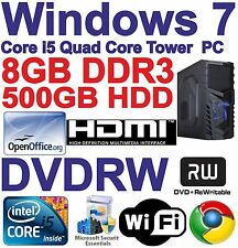 A Windows 7 Core i5 Quad Core HDMI Gaming Tower PC - 8GB DDR3 - 500GB HDD DVD-RW
