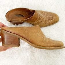 Dr Scholls Mules Tan 7.5 Womens Round Up Leather Western Cowboy Boot Slip On