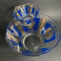 Mid Century Hazel Atlas Glass Blue Gold Grapes Wheat Pattern Chip and Dip Bowls