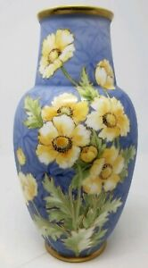 Hand Painted Nippon Vase Large Yellow Flowers 11.5 Inches Tall