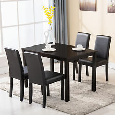 5 Piece Dining Table Set 4 Chairs Wood Kitchen Dinette Room Breakfast Furniture