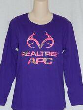 NEW Realtree Purple Camo Buck Deer Hunting Camouflage Crew T Shirt Women's S M