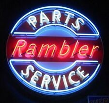 "New Rambler Parts Service Neon Light Sign 24""x24"" Real Glass Bar Beer Man Cave"