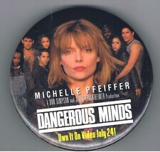 "Dangerous Minds Michelle Pfeiffer 3"" Pinback Button Movie Urban Film Advertising"